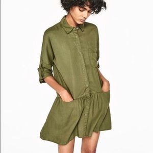 Zara Basic Olive Green Utility Dress